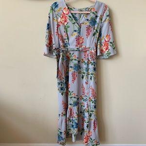 ASOS floral chiffon tie waist v-neck dress #858